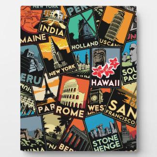 Vintage retro Europa Asia los E.E.U.U. de los post Placas De Madera