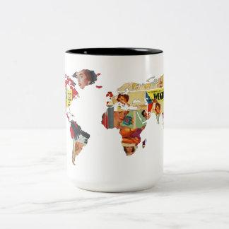 Vintage Retro   Evolving Beauty   World Map Mug