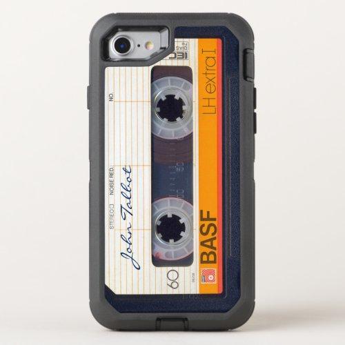 Vintage Retro Fashioned 80s Mixtape Audio Tape 3 OtterBox Defender iPhone SE/8/7 Case
