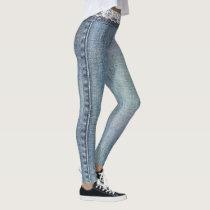 Vintage Retro Faux Blue Jeans Denim White Lace Leggings