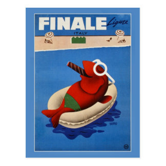 Vintage retro Finale cute fish Italian travel ad Post Card