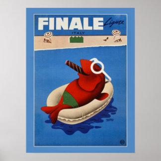 Vintage retro Finale cute fish Italian travel ad Poster