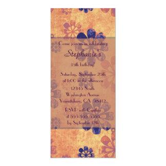 "Vintage retro floral birthday party invitation 4"" x 9.25"" invitation card"