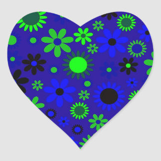 VIntage Retro Flower Power Pattern Image Heart Sticker