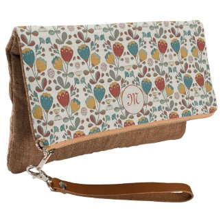 Vintage retro flowers floral blue, red, yellow clutch