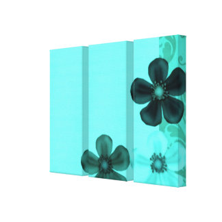 Vintage Retro Flowers Teal Stretched Canvas Print