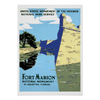 Vintage retro Fort Marion St. Augustine travel Poster