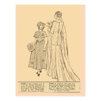 Vintage retro French fashion Bride 1931 Post Cards