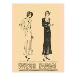 Vintage retro French fashion Day dresses 1931 Postcard