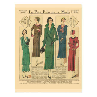 Vintage retro French fashion Day wear 1931 Post Cards