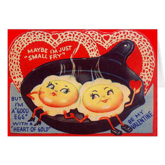 Vintage Retro Fried Eggs Valentine Cards