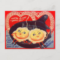 Vintage Retro Fried Eggs Valentine Holiday Postcard
