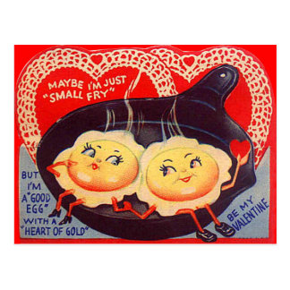 Vintage Retro Fried Eggs Valentine Postcard