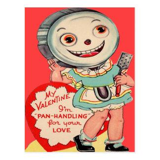 Vintage Retro Frying Pan Valentine Card