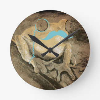 Vintage retro funny frogs mustaches wall clocks