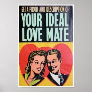 Vintage Retro Funny Humor Love Relationship Poster