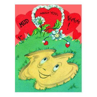 Vintage Retro Funny Mud Puddle Valentine Card