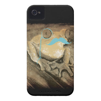 Vintage retro funny turquoise mustache frogs Case-Mate iPhone 4 case