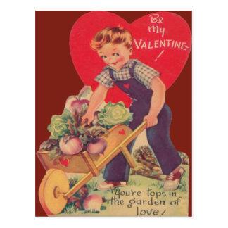 Vintage Retro Gardening Valentine Card Postcards