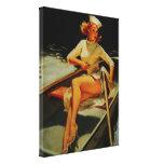 Vintage Retro Gil Elvegren Rowing Pinup girl Canvas Prints