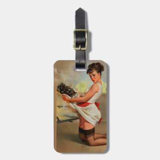 Vintage Retro Gil Elvgren Baker Pin Up Girl Luggage Tag