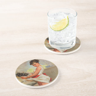 Vintage Retro Gil Elvgren Baker Pin Up Girl Sandstone Coaster