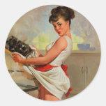 Vintage Retro Gil Elvgren Baker Pin Up Girl Round Sticker
