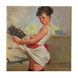 Vintage Retro Gil Elvgren Baker Pin Up Girl Tile