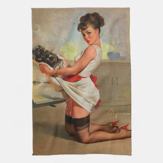 Vintage Retro Gil Elvgren Baker Pin Up Girl Towel