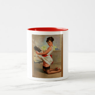 Vintage Retro Gil Elvgren Baker Pin Up Girl Two-Tone Coffee Mug