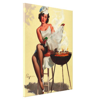 Vintage Retro Gil Elvgren Barbeque Pin Up Girl Canvas Print