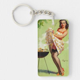 Vintage Retro Gil Elvgren Barbeque Pin Up Girl Keychain