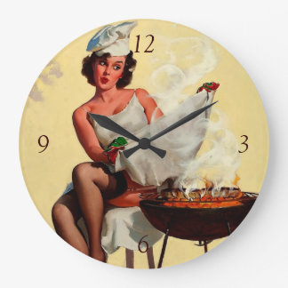 Vintage Retro Gil Elvgren Barbeque Pin Up Girl Large Clock