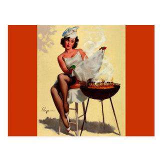 Vintage Retro Gil Elvgren Barbeque Pin up girl Postcard