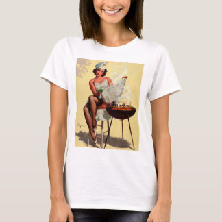 Vintage Retro Gil Elvgren Barbeque Pin up girl T-Shirt