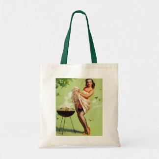 Vintage Retro Gil Elvgren Barbeque Pin Up Girl Tote Bag