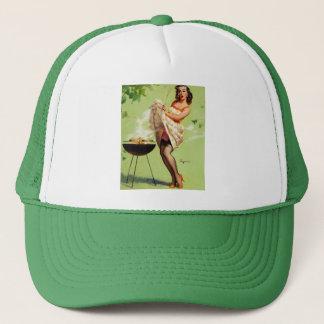 Vintage Retro Gil Elvgren Barbeque Pin Up Girl Trucker Hat