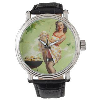 Vintage Retro Gil Elvgren Barbeque Pin Up Girl Watch