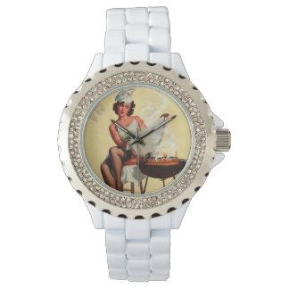 Vintage Retro Gil Elvgren Barbeque Pin Up Girl Wrist Watch