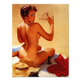 Vintage Retro Gil Elvgren Beach Summer Pinup Girl Card