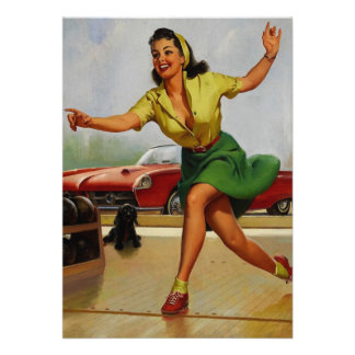 Vintage Retro Gil Elvgren Bowling pinup girl Announcements