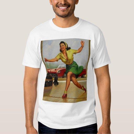 Vintage Retro Gil Elvgren Bowling pinup girl T-Shirt