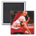 Vintage Retro Gil Elvgren Car Mechanic Pinup Girl 2 Inch Square Magnet