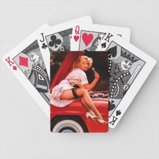Vintage Retro Gil Elvgren Car Mechanic Pinup Girl Bicycle Playing Cards