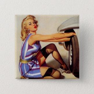 Vintage Retro Gil Elvgren Car Mechanic Pinup Girl Button
