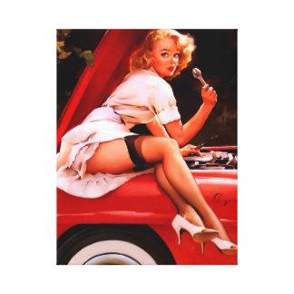 Vintage Retro Gil Elvgren Car Mechanic Pinup Girl Canvas Print