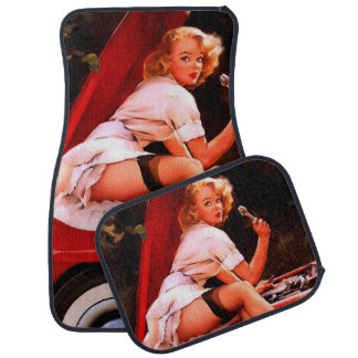 Vintage Retro Gil Elvgren Car Mechanic Pinup Girl Car Mat
