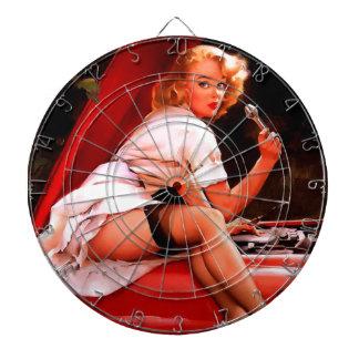 Vintage Retro Gil Elvgren Car Mechanic Pinup Girl Dartboard With Darts