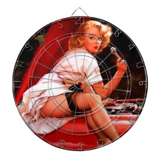 Vintage Retro Gil Elvgren Car Mechanic Pinup Girl Dartboard With Darts