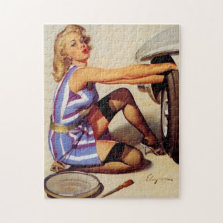 Vintage Retro Gil Elvgren Car Mechanic Pinup Girl Jigsaw Puzzle